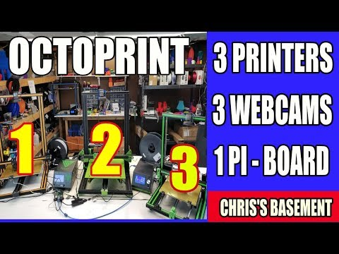 Octoprint 3 Printers, 3 Cams, 1 Raspberry Pi - Chris's Basement - Happy Pi Day!