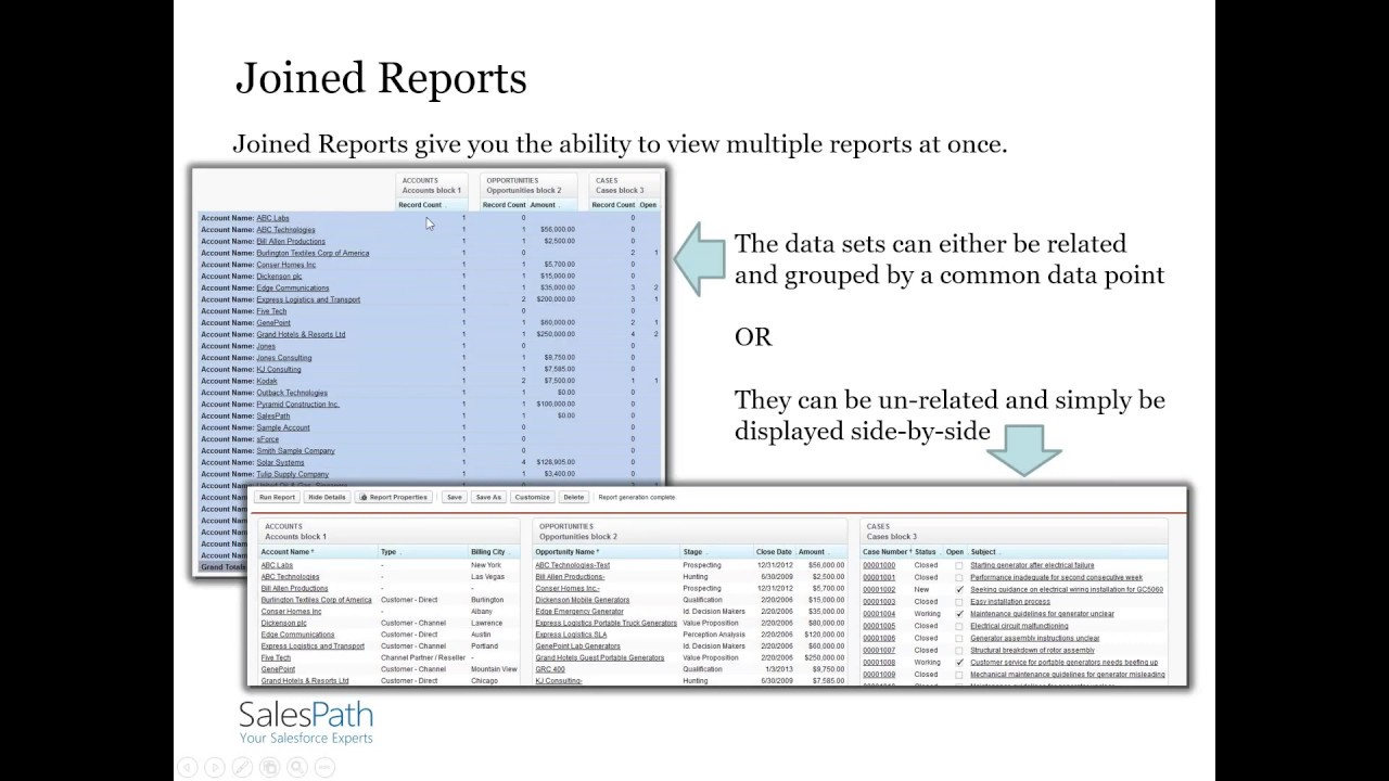 Creating Salesforce Joined Reports